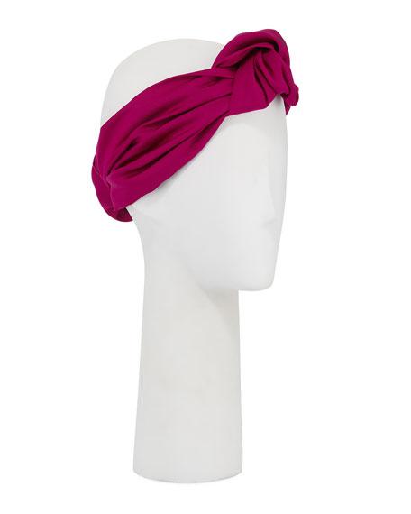 Jennifer Behr Marin Faille Silk Knotted Headband Mini Turban