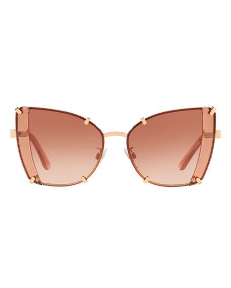 Dolce & Gabbana Rimless Metal Butterfly Sunglasses