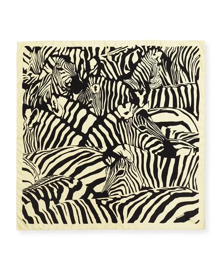 Etro Grouped Zebra Silk Scarf