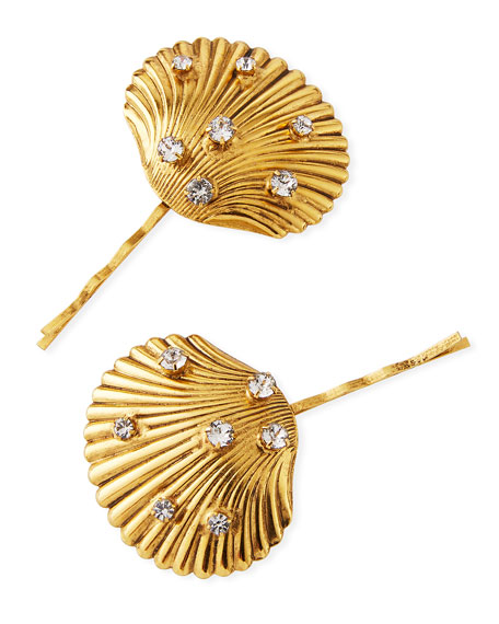 Jennifer Behr Poseidon Brass Clam Shell Bobby Pins, Set of 2