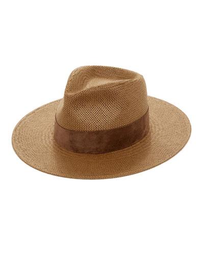 Luna Straw Fedora Hat w/ Suede Hat Band