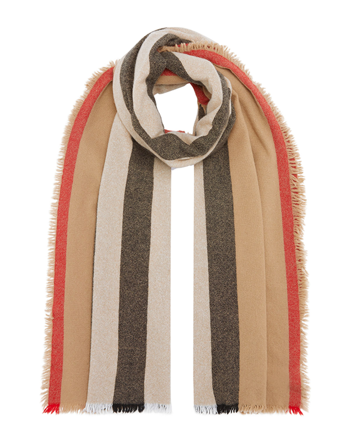 Icon Stripe Wool Cashmere Scarf by Burberry