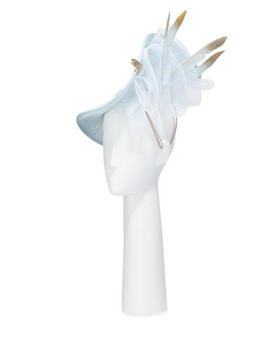 Folded Disc Hat w/ Crin & Feather Trim