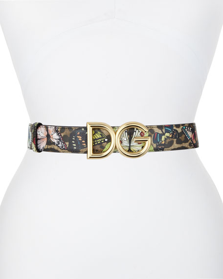 Dolce & Gabbana Interno Butterfly-Print Reversible Leather Belt w/ Logo Buckle