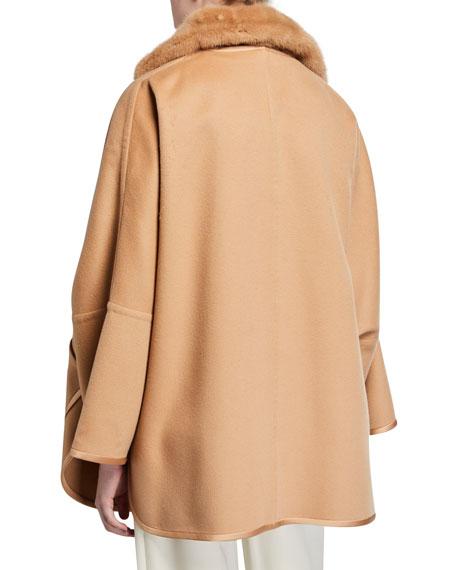Loro Piana Double Cashmere Cape w/ Fur Collar