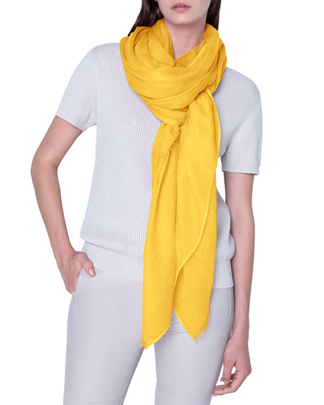 Image 1 of 3: Akris Solid Cashmere-Silk Scarf