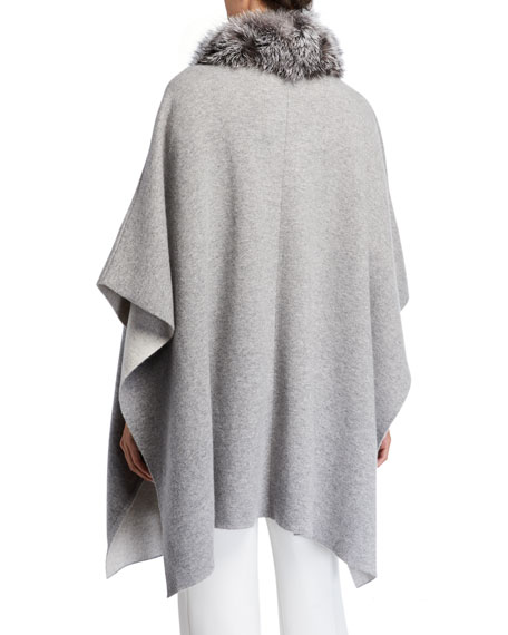 Image 4 of 4: Sofia Cashmere Double-Face Cashmere Cape w/ Fur Collar