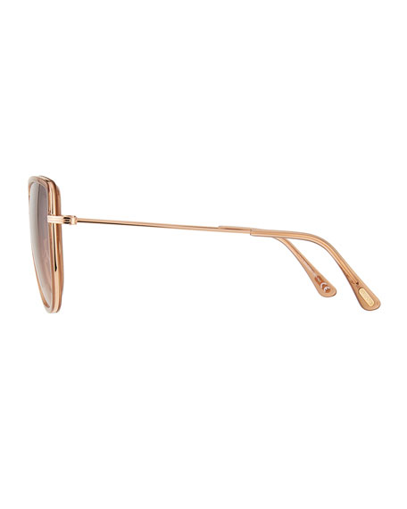 Image 3 of 3: TOM FORD Round Flattop Metal Sunglasses