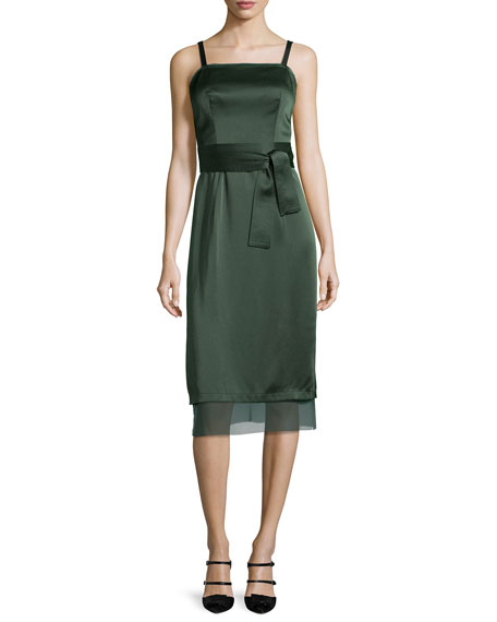 GREY Jason Wu Square-Neck Double-Satin Slip Dress, Deep