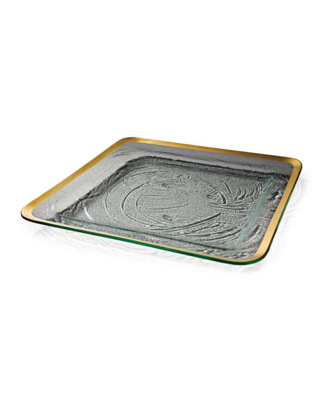 Annieglass Roman Antique Platinum Large Square Tray