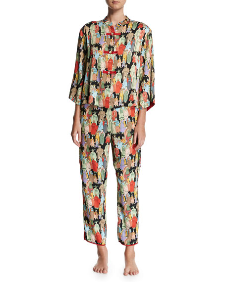Natori Two-Piece Dynasty Printed Pajamas
