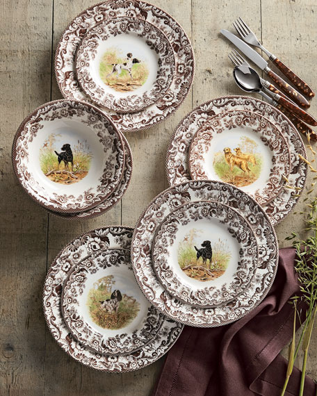Spode Four Assorted Woodland Hunting Dog Dinner Plates