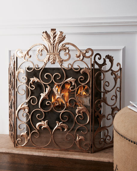 Acanthus Fireplace Screen Neiman Marcus