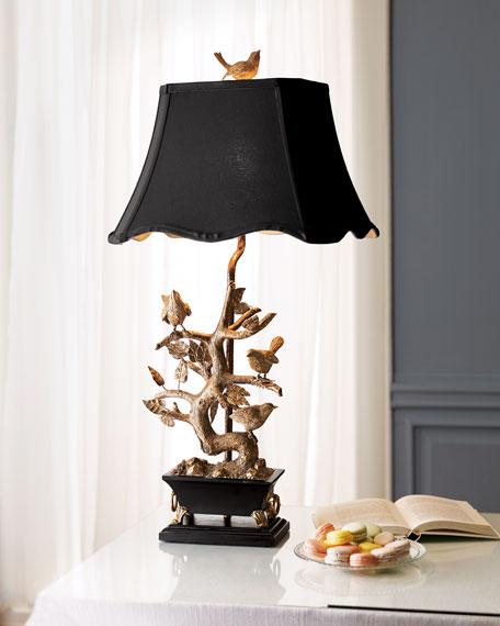 Brass Bird-on-Branch Lamp