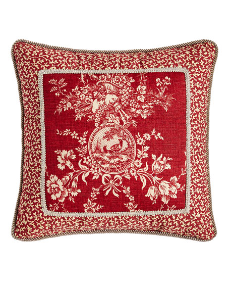 """Sherry Kline Home French Country Pillow w/ Toile Center, 19""""Sq."""