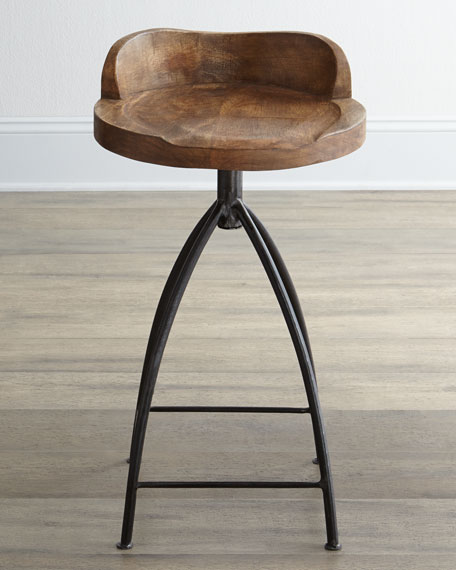 Wood Swivel Barstool