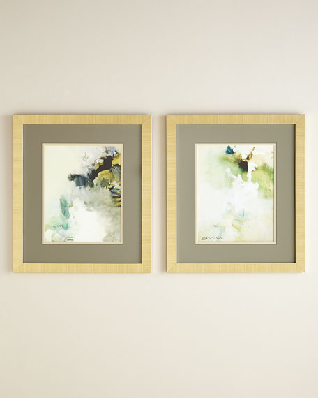 """Two """"Overjoyed"""" Abstract Giclee on Canvas Wall Art Set"""