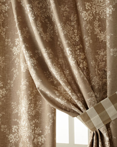 Two 52W x 96L Country House Toile Curtains