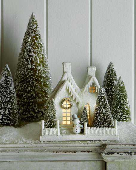 Ivory Glitter Cottage with Snowman