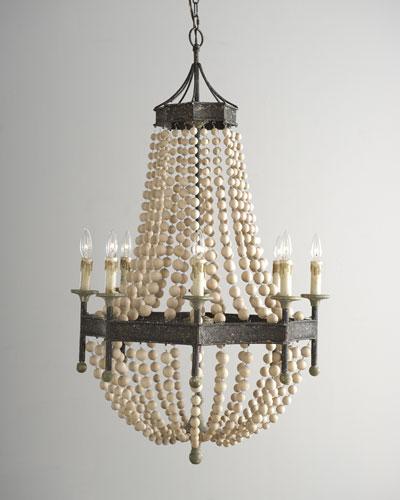 Wood Bead Eight-Light Chandelier