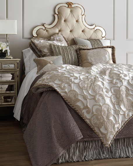 Dian Austin Couture Home Queen Pure Pewter Medallion Duvet Cover