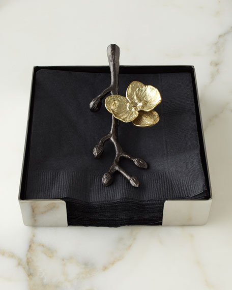 Michael Aram Gold Orchid Cocktail Napkin Holder