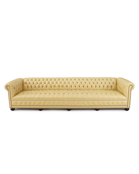 "Old Hickory Tannery Zerenity 131.5""L Chesterfield Leather Sofa"