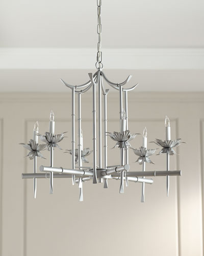 Bamboo-Motif Six-Light Chandelier