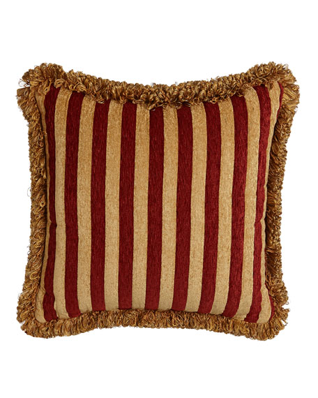 "Austin Horn Collection Bellissimo Square Chenille Pillow with Fringe, 20""Sq."