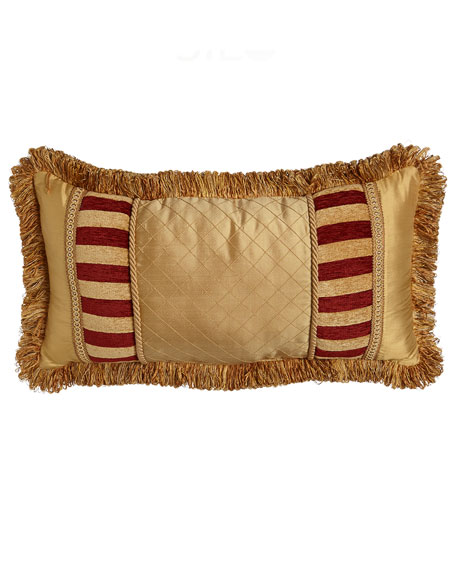 "Austin Horn Collection Bellissimo Pieced Pillow with Fringe, 13"" x 24"""