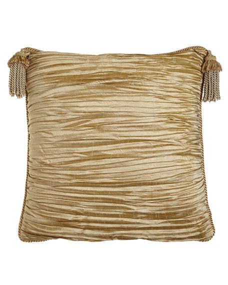 Austin Horn Collection Antoinette Pleated Silk European Sham with Tassels