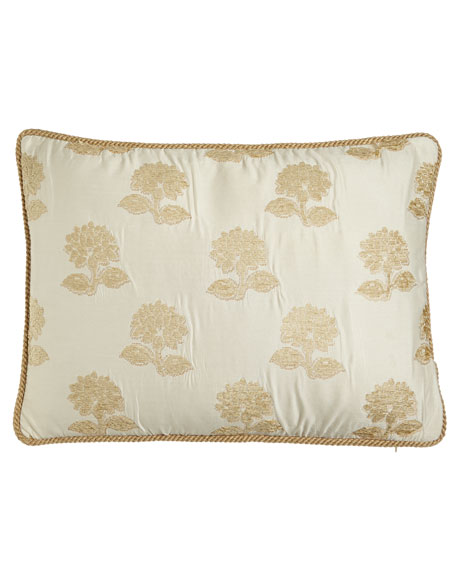 Austin Horn Collection Antoinette Standard Sham with Chenille Flowers & Cord Trim