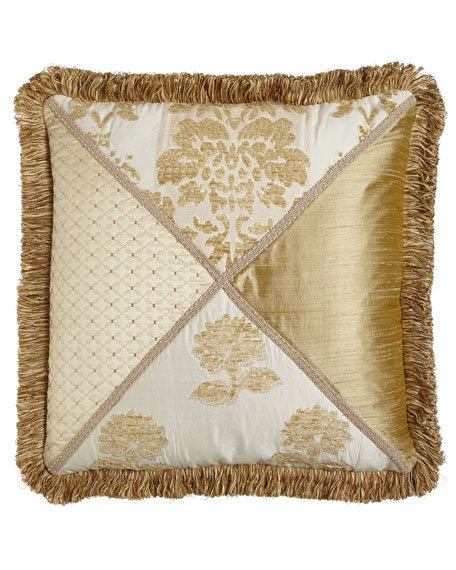 "Austin Horn Collection Antoinette Pieced Pillow with Loop Fringe, 20""Sq."