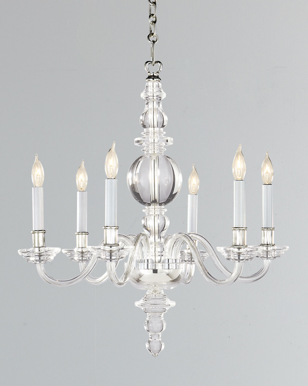 Chapman & Myers George II Small 6-Light Polished-Nickel Chandelier