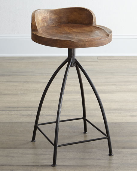 Image 2 of 5: Arteriors Wood Swivel Counter Stool