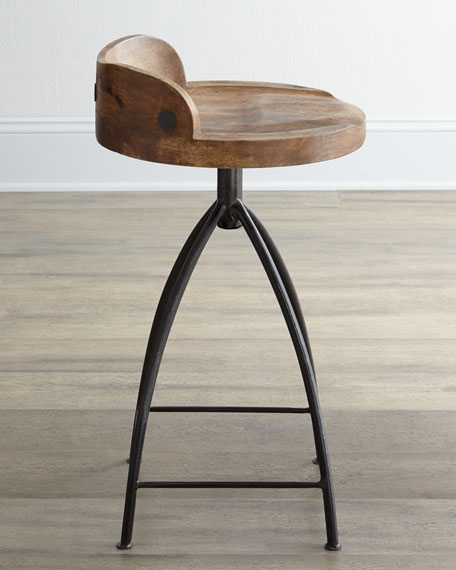Image 3 of 5: Arteriors Wood Swivel Counter Stool