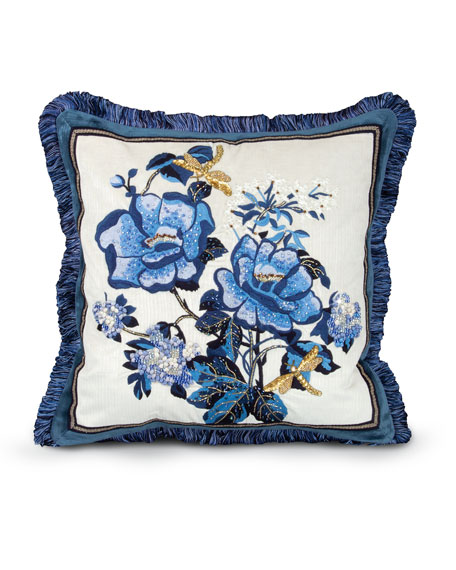 Jay Strongwater Magnolia Pillow, 20