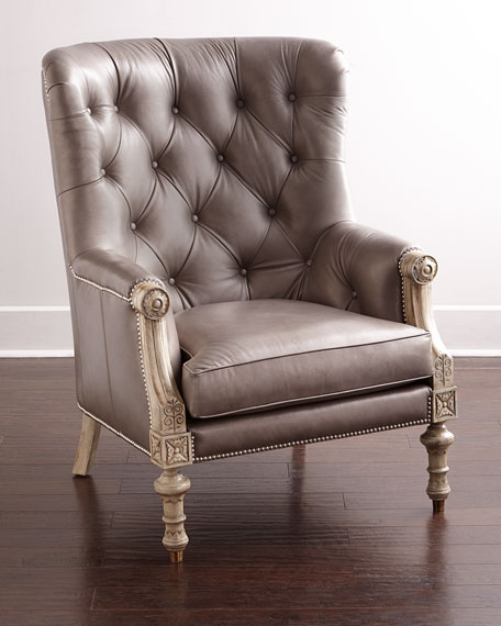 HARDING LEATHER TUFTED CHAIR