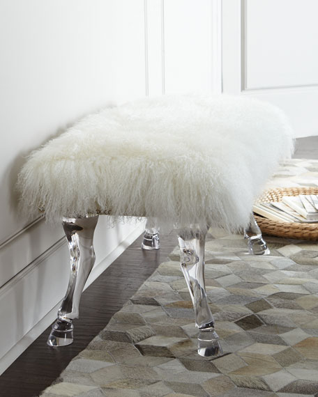 Massoud Centaur White Sheepskin Bench