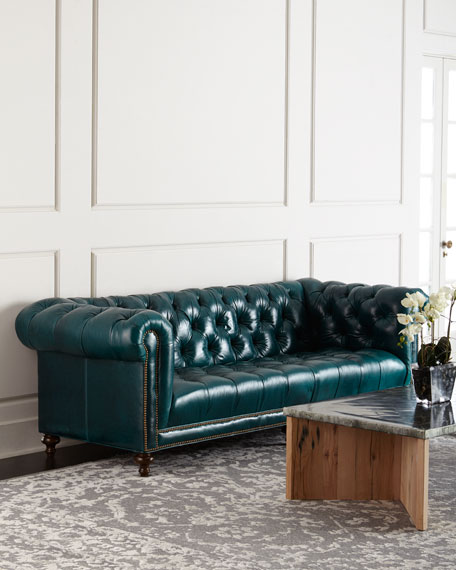 """Davidson 119"""" Tufted Seat Chesterfield Sofa"""