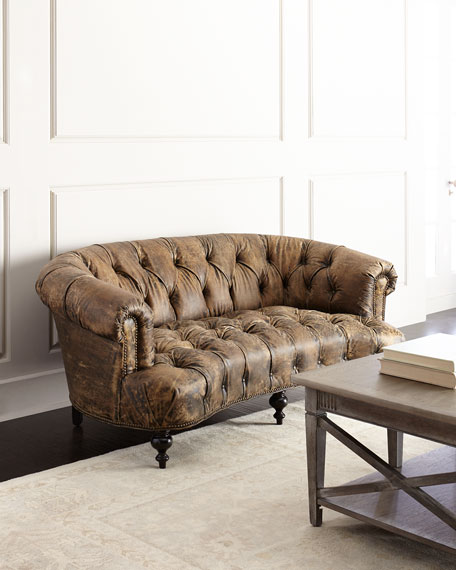 Leather Furniture Outlet North Carolina: Old Hickory Tannery Carson Tufted Leather Sofa