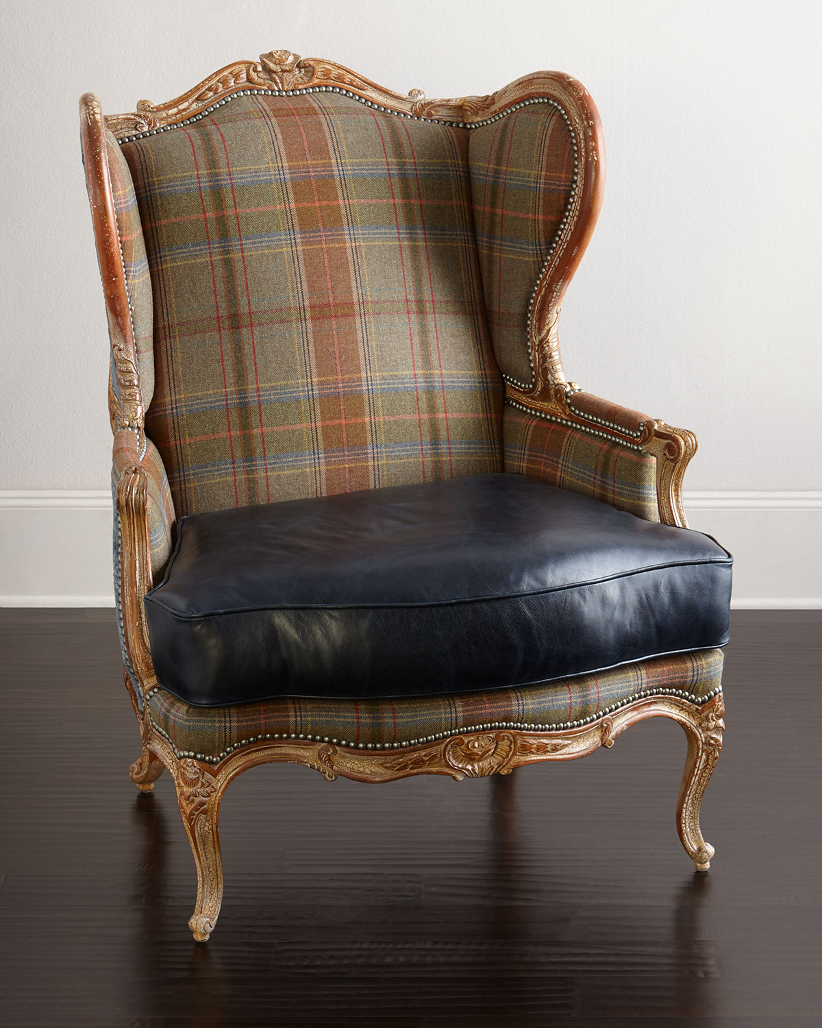 Massoud Sienna Blue Leather Wing Chair Neiman Marcus