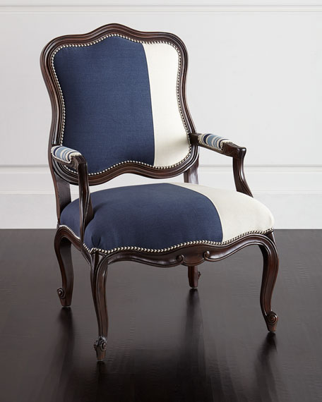 Image 1 of 3: Massoud Michael Colorblock Bergere Chair