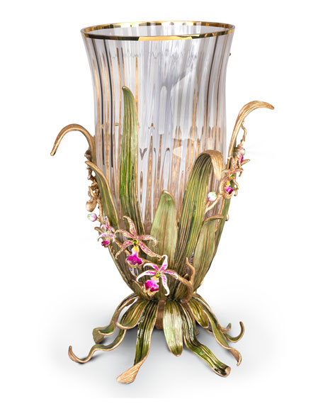 Jay Strongwater Large Orchid Vase