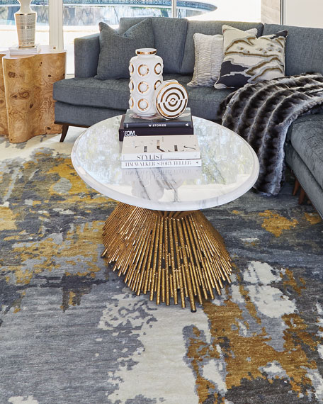 Image 1 of 4: Ambella Sunset Marble Coffee Table