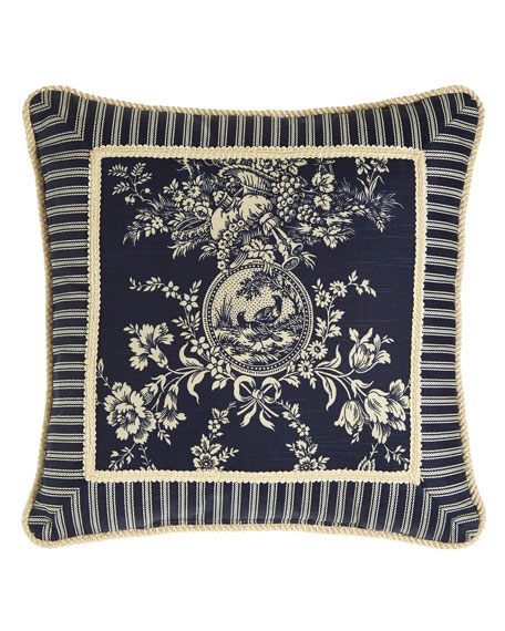 """Sherry Kline Home Country Toile Pillow with Striped Frame, 19""""Sq."""