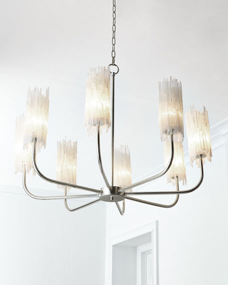 John-Richard Collection Natural Selenite Shaded 8-Light Chandelier