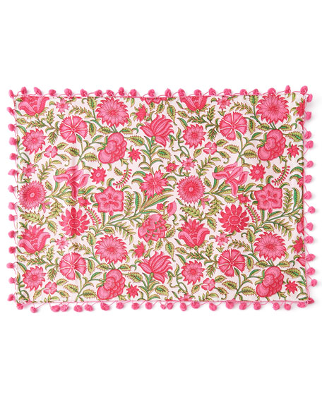 Floral-Print Placemats with Pom Poms, Set of 4