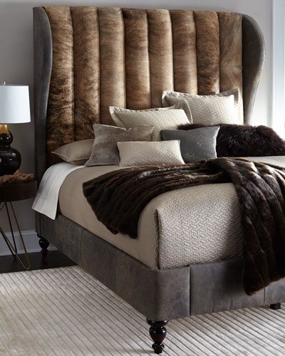 Jessie King Channel-Tufted Hairhide Bed