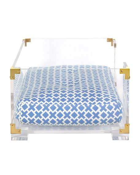 LUCITE AND BRASS DOG BED